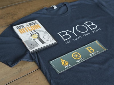 Bitcoin Fan-On-The-Go Bundle A: DVD, T-Shirt, Bumper Sticker