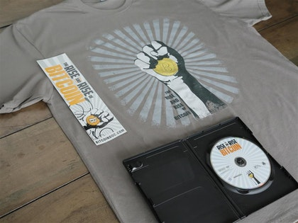 Bitcoin Fan-On-The-Go Bundle B: Blu-ray, T-Shirt, Bumper Sticker