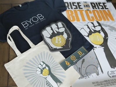 Bitcoin Mega Fan Bundle: Vimeo Download, T-Shirt, Movie Poster, Tote Bag, Bumper Sticker, Foam Fist