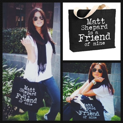 Black Tote Bag-White text