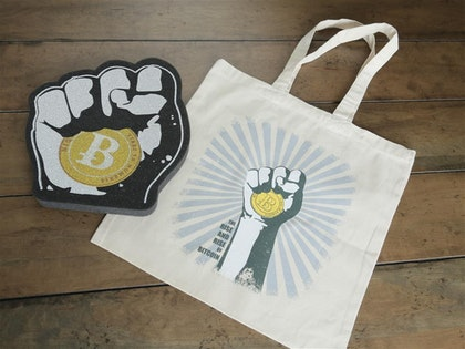 Bitcoin Accessories Bundle: Vimeo Download, Tote Bag, Foam Fist